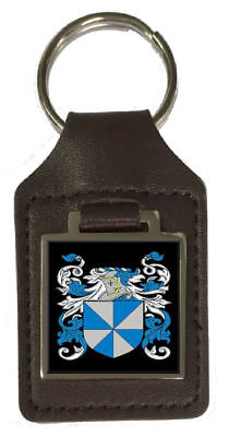Mettam Family Crest Surname Coat Of Arms Brown Leather Keyring Engraved