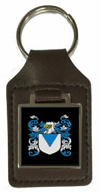 Mantle Heraldry Surname Coat Of Arms Brown Leather Keyring Engraved