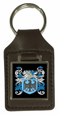 Borough Heraldry Surname Coat Of Arms Brown Leather Keyring Engraved