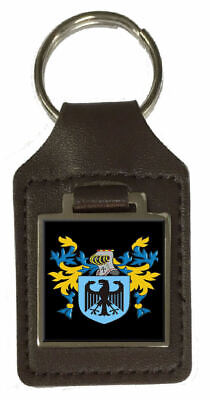 Wibbery Family Crest Surname Coat Of Arms Brown Leather Keyring Engraved