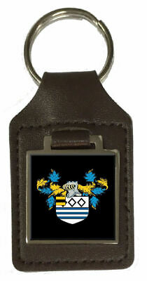 Stanford Family Crest Surname Coat Of Arms Brown Leather Keyring Engraved