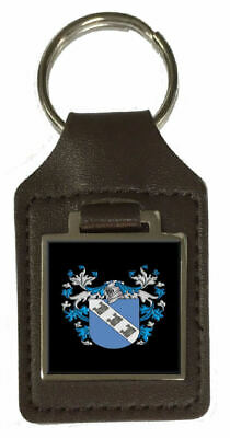 Castle Family Crest Surname Coat Of Arms Brown Leather Keyring Engraved