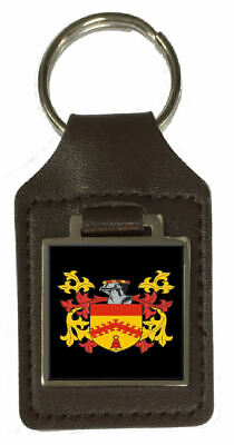 Polley Family Crest Surname Coat Of Arms Brown Leather Keyring Engraved