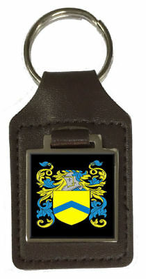 Bowers Family Crest Surname Coat Of Arms Brown Leather Keyring Engraved