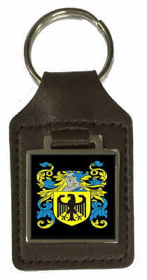 Kilshaw Family Crest Surname Coat Of Arms Brown Leather Keyring Engraved