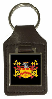 Priest Family Crest Surname Coat Of Arms Brown Leather Keyring Engraved