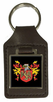 Phetteplace Family Crest Surname Coat Of Arms Brown Leather Keyring Engraved