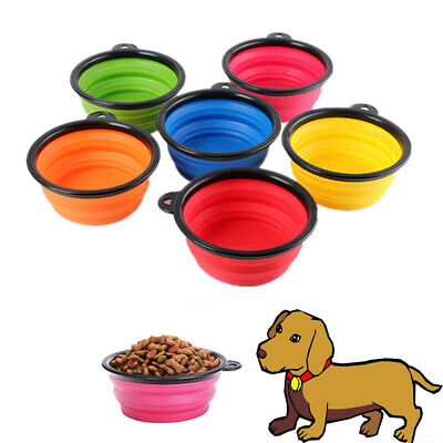 Travel Feeding Portable Silicone Dog Cat Puppy Feeder Pet Bowl Water Food Dish