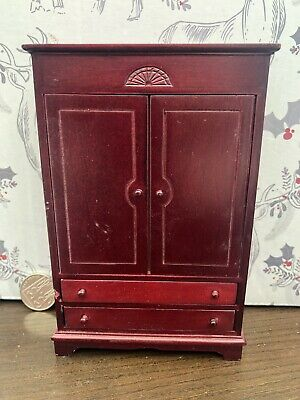 Red Wood Wardrobe, for a Dolls House, Miniature Furniture in 1:12th Scale.