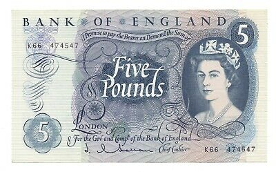 Hollom £5 Five Pound Note EF Bank of England Banknote Series C Portrait 1963-66