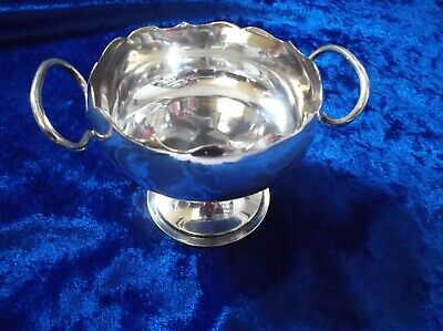 Vintage Silver Plated Bonbon Dish/Trinket Bowl with Scalloped Edge & Handles