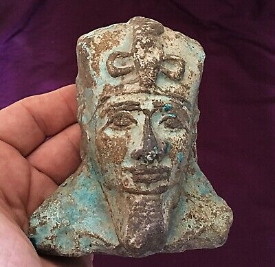 Very rare ancient Blue Glazed Faience Egyptian Pharaoh bust c300/600BC