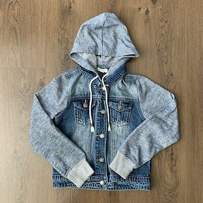 Pumpkin Patch Girls Denim Jacket With Material Hood And Sleeves Size 10