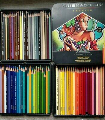 72 Prismacolor Premier Colored Pencils, Soft Core - Used - Great for Colouring