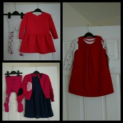Girls Dresses with Tights and Cardigan bundle Mothercare,Gap,Primark 18-24...