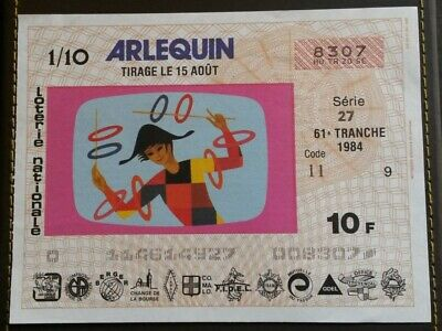 Billet de Loterie Nationale Arlequin 1984