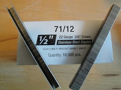 "Stainless Steel Upholstery Staples 71 Series 3/8"" Crown 1/2"" Leg Outdoor Boat"
