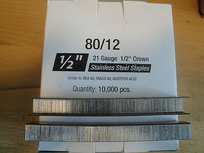 "Stainless Steel Upholstery Staples 80 Series 1/2"" Crown 1/2"" Leg Outdoor No Rust"