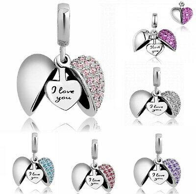 Authentic Pandora Charms Bracelet & Necklaces Heart I Love You Silver Women Gift