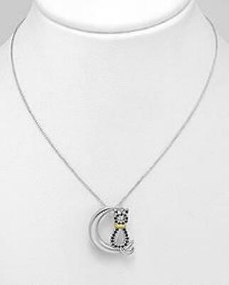 Cat in the Moon Necklaces with CZ in solid 925 Silver, Elegant and Sweet!
