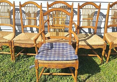 6 Carved Wood Wheat Sheaf Back Rush Seat Dining Chairs Country French From Italy