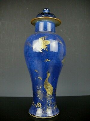 Rare Beautiful Chinese Porcelain Blue/Gold Paintting Vase&Cover-Swan-Kangxi.Top!