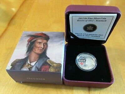 #119726  2012 $4 Fine Silver Coin-Heroes Of 1812 -Tecumseh