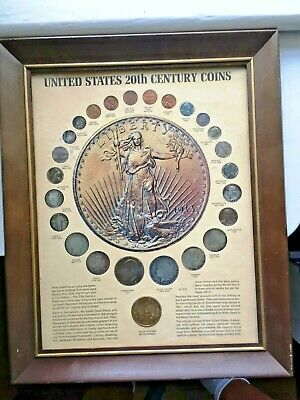 RARE ! Framed 20th Century US Type Coin Set 19th & 20th C Kennedy Mint Issue