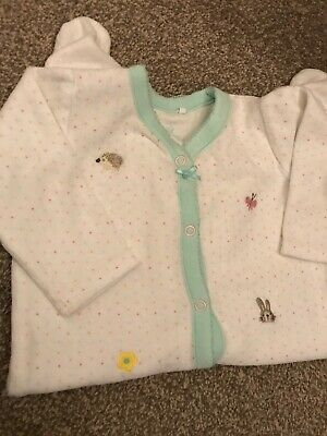 NEXT Soft Velour Sleepsuit Age 3-6 Months Hedgehog Bunny Baby Girls VGC rrp £14