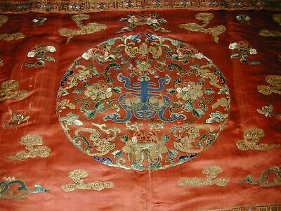 Antique Chinese Red Silk Embroid Altar Cloth-Couched Bats+Forbidden Stitch Flowe