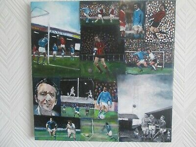 Manchester City MCFC 1970s Oil Painting Compilation of Mike Summerbee Maine Road