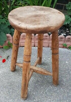 Antique Victorian Solid Country Oak Stool 55 cms Tall 48.5 cms Tall