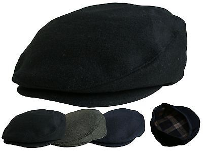 Mens Plain Flat Cap In Grey Black Navy Baker Boy Hat Peaked Newsboy Country Caps