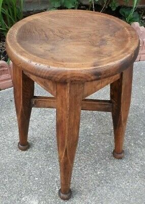 Antique Victorian Solid Country Oak Stool 48 cms Tall