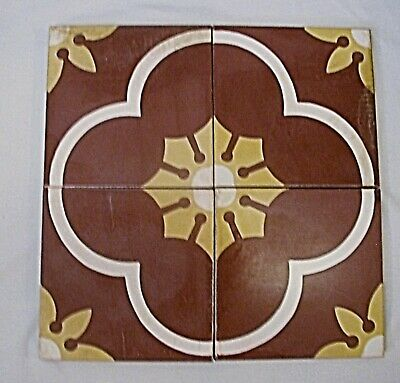VINTAGE SALVAGE HANDMADE ENCAUSTIC CEMENT FLOOR TILES 8 x 8 inch 7/8 inch thick