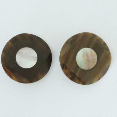 Pair Of Vintage Bakelite And Mother Of Pearl Large Buttons