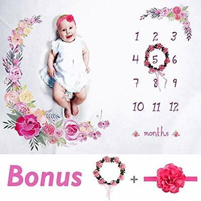 Baby Monthly Milestone Blanket Large 60&quotx40&quot Bonus Floral Wreath &amp Me