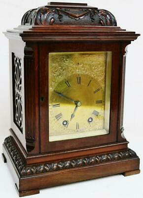 Antique French 8 Day Carved Mahogany Bracket Clock Engraved Dial Mantel Clock