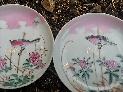 Pair Late 19th/ Early 20th C Chinese Famille Rose Canton  Flower Bird Plate