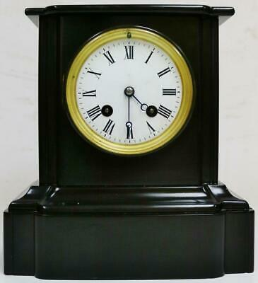 Antique French 19thC 8 Day Architectural Slate Bell Striking Mantel Clock