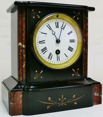 Antique French 8 Day Slate & Marble Timepiece Mantel Clock Engraved Decoration