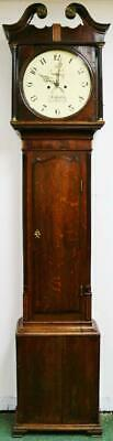 Antique English 8 Day Striking Oak & Mahogany Cottage Longcase Grandfather Clock