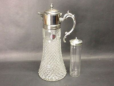 "Vtg Glass Eales Italy Silverplate Water Ice Tea 14"" Pitcher Decanter Ice Insert"