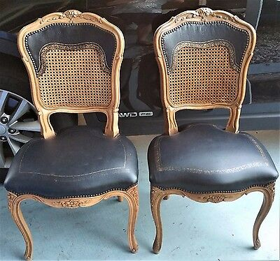 Pair of Antique French Louis XV Wood Cane Back & Leather Seat Studded Chairs