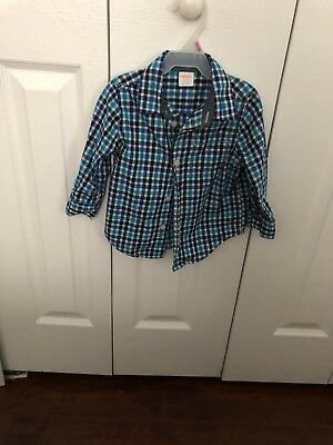 Gymboree Baby Boy 12 month to 18 months Blue Black White Plaid Dress Shirt Top