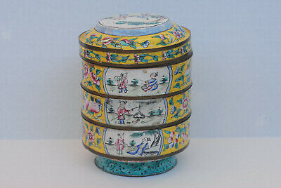 Antique Chinese Canton Enamel over Bronze/Cooper Three Layers Box