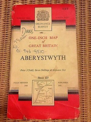 Vintage Ordnance Survey OS map - 1950s - sheet 127 Aberystwth
