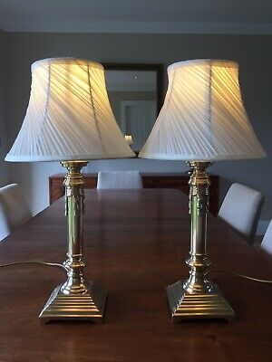 Pair of Vintage Solid Brass French Rococo Style Lamps