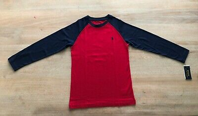 Kids POLO Ralph Lauren long sleeve T-Shirt number 3 size M (10-12) Red Navy blue