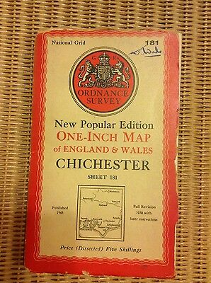 Vintage Ordnance Survey OS map - 1940s - sheet 181 Chichester